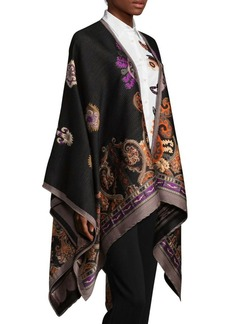Etro Floral Paisley Wool & Silk Cape