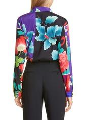 Etro Floral Patchwork Print Stretch Silk Blouse
