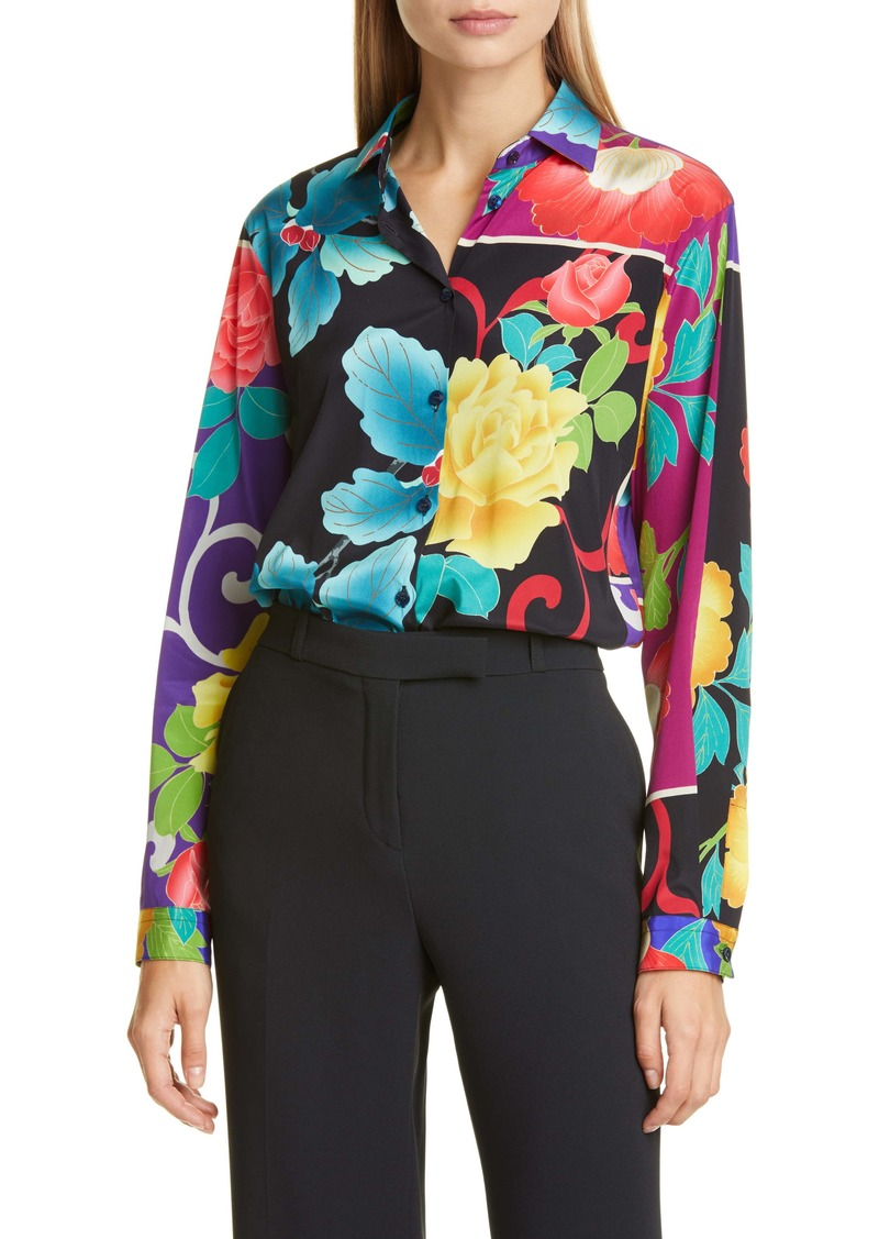 Etro Floral Patchwork Print Stretch Silk Blouse