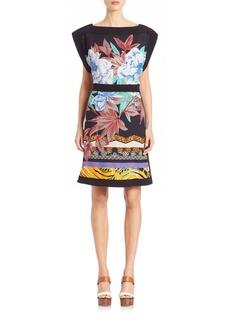 Etro Floral-Print Boatneck Dress