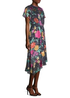 Floral-Print Cap-Sleeve Midi Dress