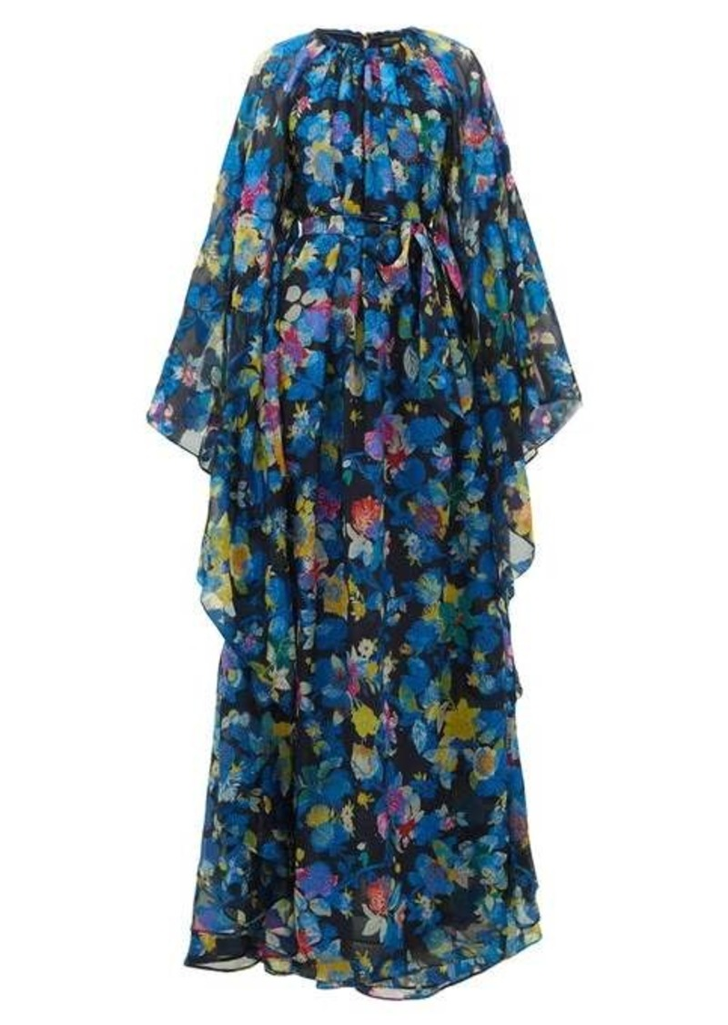 Etro Floral-print cape-sleeve silk-blend maxi dress