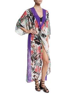 Etro Floral-Print Chiffon Beach Kimono