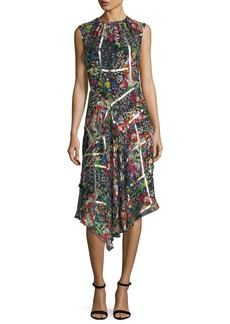 Etro Floral-Print Dress with Metallic Grid