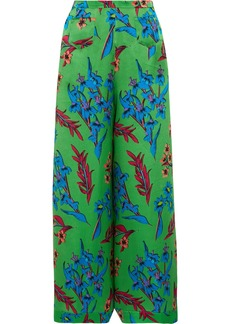Etro Floral-print Hammered Silk-satin Wide-leg Pants