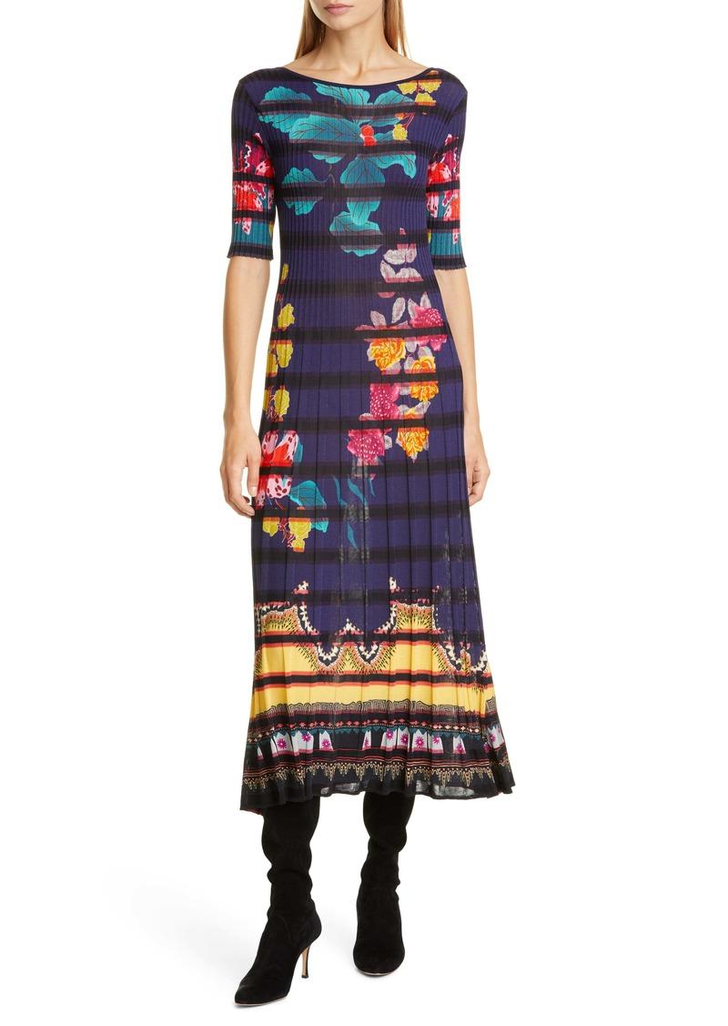 Etro Floral Print Rib Midi Sweaterdress