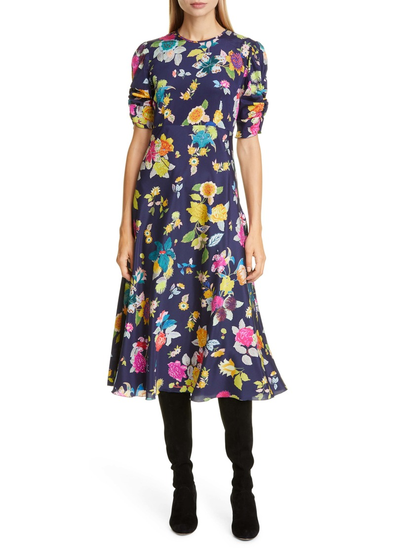 Etro Floral Print Ruched Sleeve Midi Dress