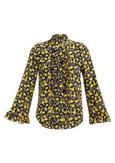 Etro Floral-print ruffled silk-chiffon blouse