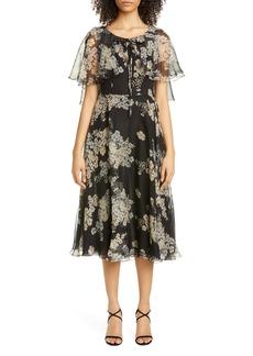 Etro Floral Print Silk Chiffon Capelet Midi Dress