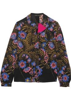 Floral-print silk-crepe blouse