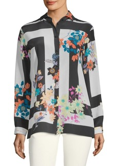 Floral-Print Silk Long-Sleeve Shirt