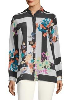 Etro Floral-Print Silk Long-Sleeve Shirt