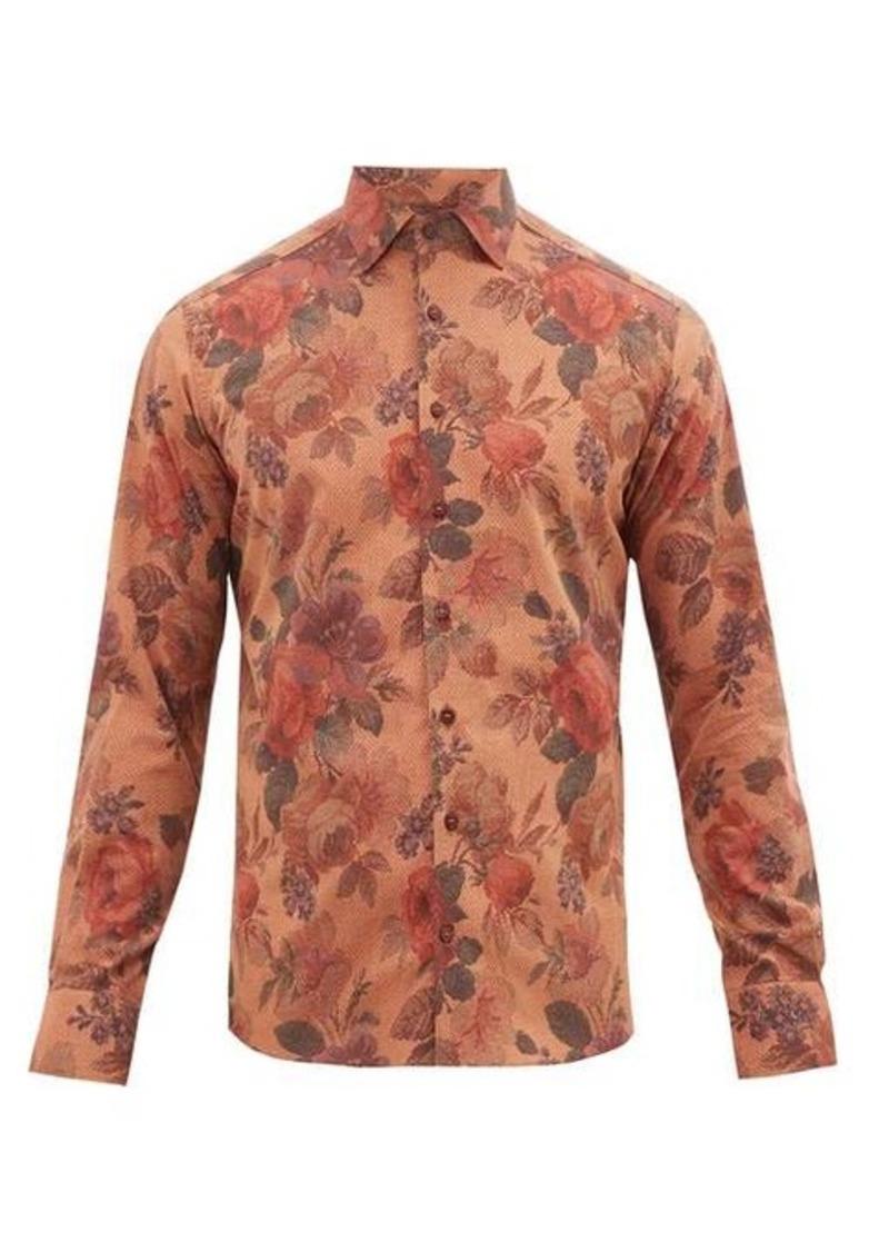 Etro Floral-print slim-fit cotton shirt
