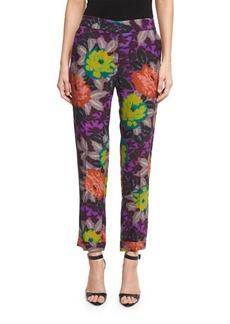 Etro Floral-Print Slim-Leg Ankle Pants