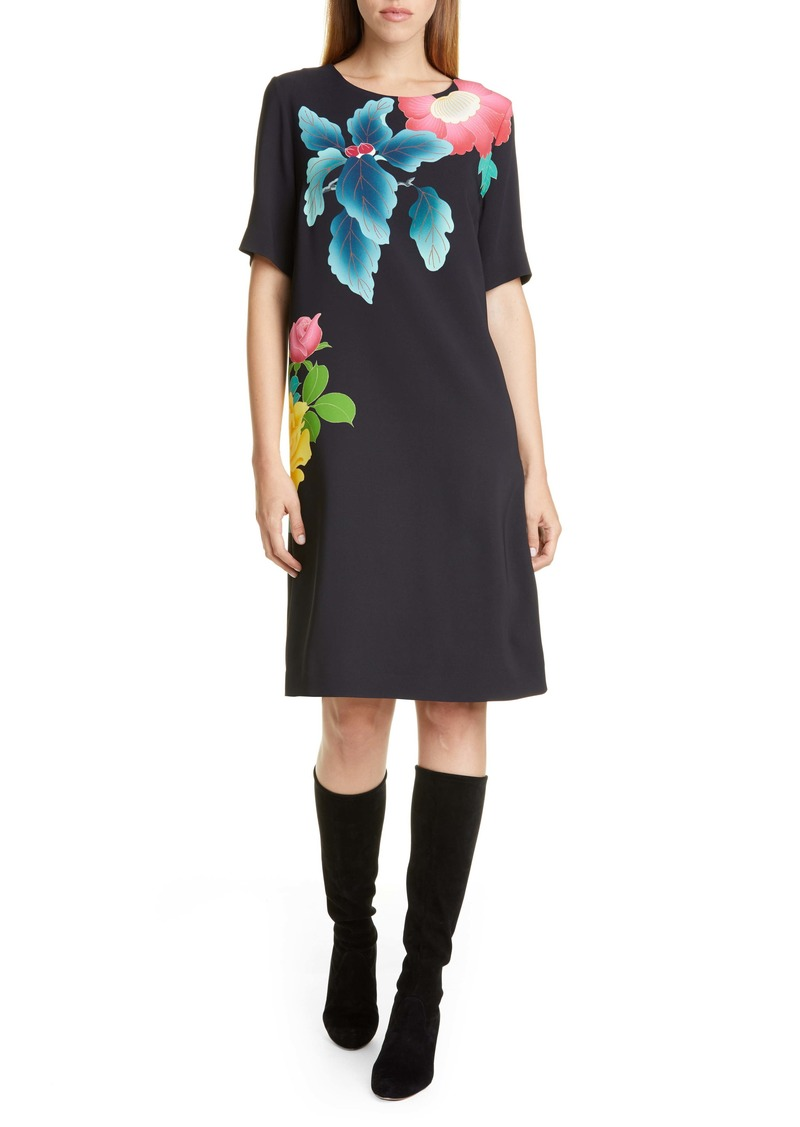 Etro Floral Print Stretch Cady Shift Dress