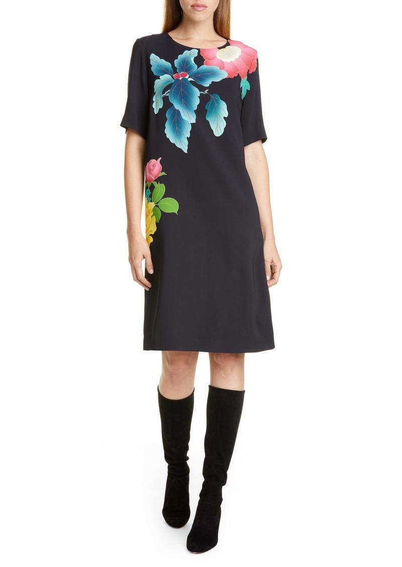Etro Floral Print Stretch Cady Shift Dress