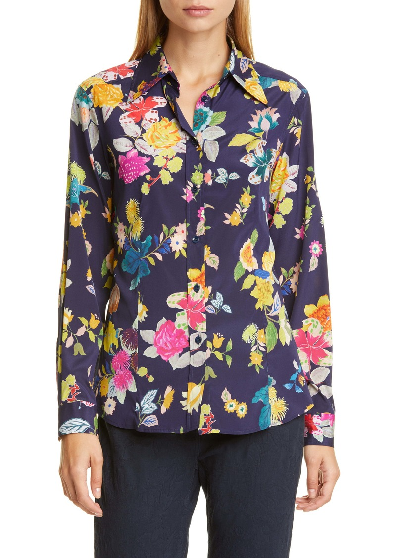 Etro Floral Print Stretch Silk Shirt