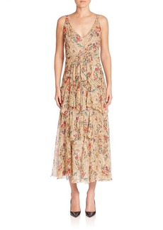 Etro Floral-Print Tiered Silk Dress
