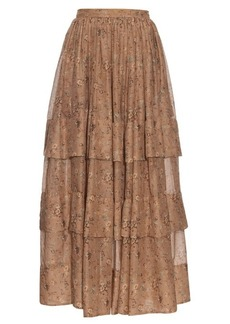 Etro Floral-print tiered skirt
