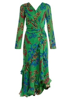 Etro Floral-print V-neck silk dress