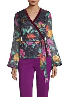 Floral-Print Velvet-Trim Blouse