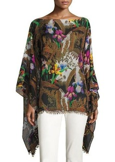 Etro Floral Silk Poncho with Beaded Fringe