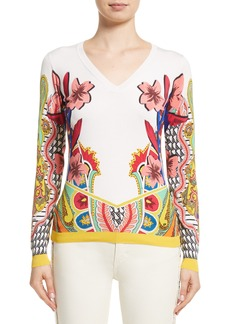 Etro Floral Stretch Silk Sweater