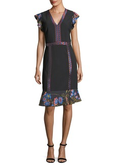 Etro Flutter-Sleeve Combo Dress