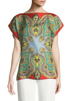 Etro Flutter-Sleeve Silk Poncho
