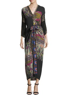 Etro Fringe-Sleeve V-Neck Paisley Silk Midi Dress