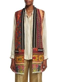 Etro Fringe-Trim Printed Tweed Vest