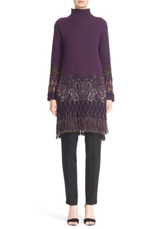 Etro Fringe Trim Wool Blend Turtleneck Tunic