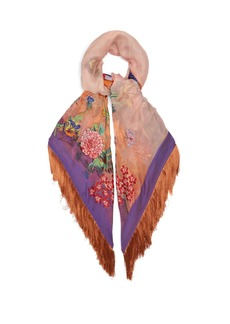 Etro Fringed floral-embroidered scarf