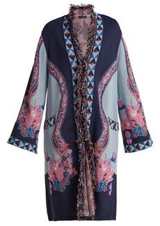 Etro Fringed floral jacquard-knit cardigan