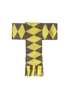 Etro Fringed geometric-jacquard silk belt
