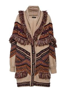 Etro Fringed Intarsia Wool-Blend Cardigan