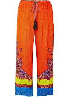 Fringed printed knitted wide-leg pants