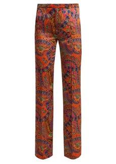 Etro Fuji paisley-print high-rise satin trousers