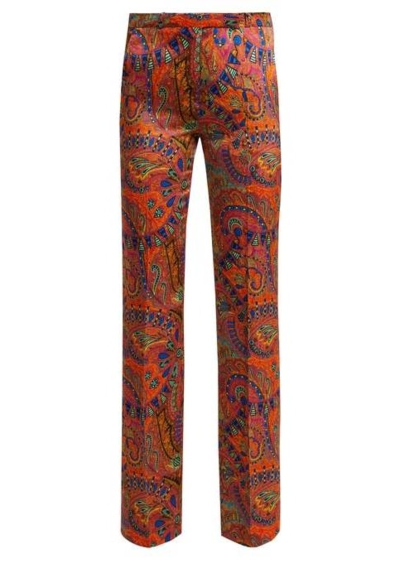 Etro Fuji paisley-print high-rise satin trousers