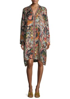 Garden Paisley-Print Caftan Dress