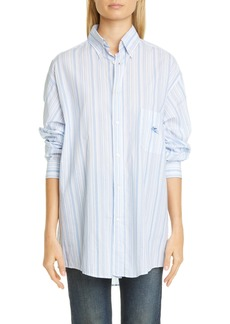 Etro GE01 Embroidered Stripe Cotton Poplin Button-Down Shirt