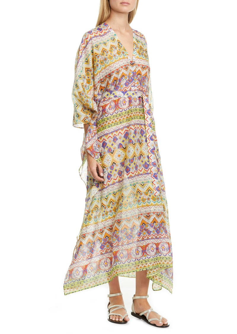 Etro Geo Print Cotton & Silk Caftan Dress