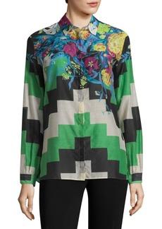 Etro Geometric Floral Cotton Voile Button-Down
