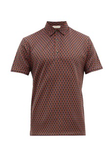 Etro Geometric-jacquard cotton-knit polo shirt