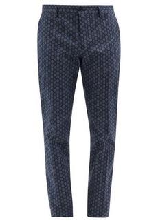 Etro Geometric-print cotton-blend twill trousers
