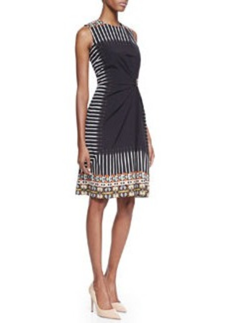 Etro Geometric Tribal-Print-Bordered Sleeveless Gathered Dress, Black