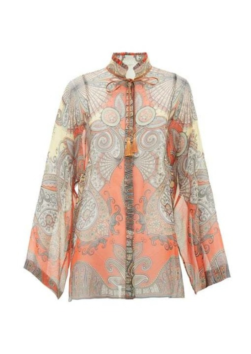 Etro Girasole tie-neck printed silk-chiffon blouse