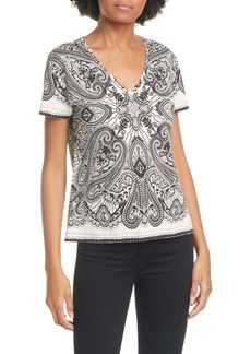 Etro Graphic Paisley Crop V-Neck Cotton Tee