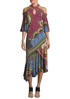 Etro Halter Cold-Shoulder A-Line Midi Dress