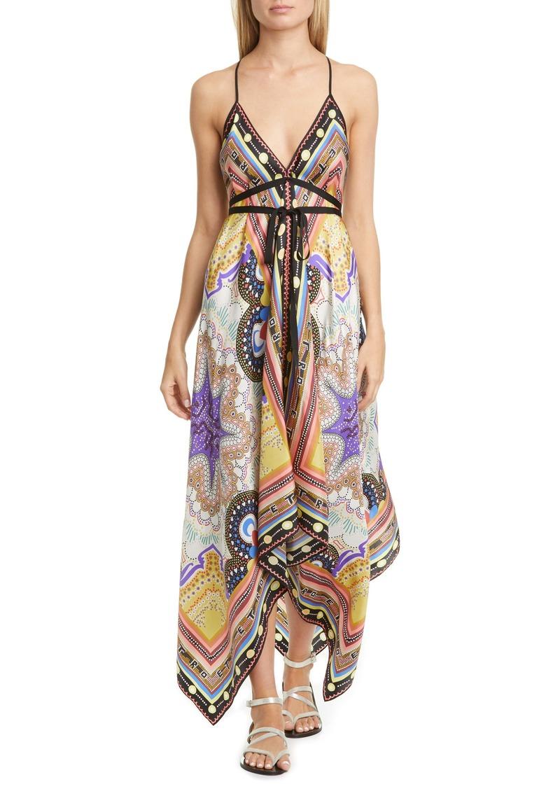 Etro Handkerchief Hem Silk Cover-Up Dress
